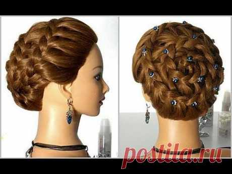"""▶ the Hairdress on long and average hair """"Улитка"""". Weaving of a braid around the head. - YouTube"""