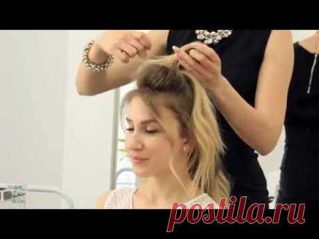 5 модных причесок на средние волосы: ПУЧОК-мальвинка + стильные ХВОСТЫ | YourBestBlog - YouTube