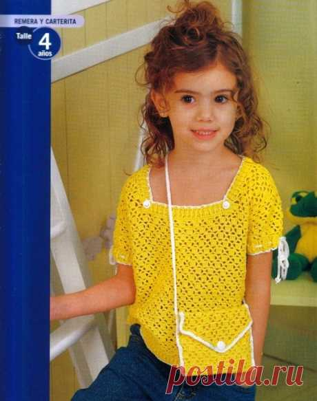 Летний комплект,вязаный крючком для девочки 5-6 лет. Ажурная кофточка для девочки крючком