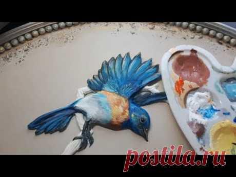 Птицы в скульптурной живописи способ №1