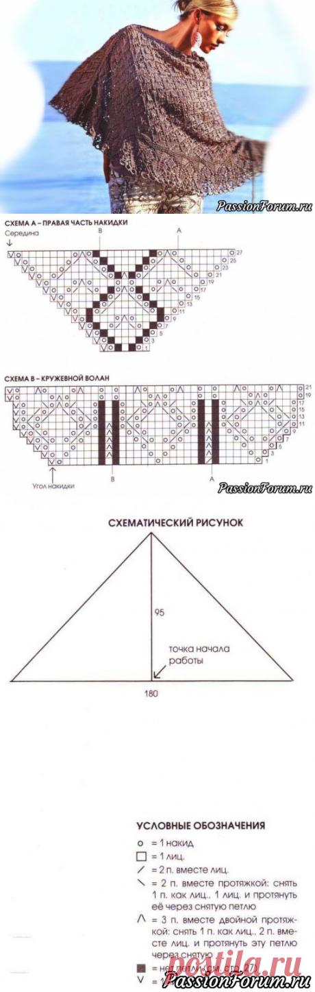 Ажурная накидка. Описание | Вязание спицами аксессуаров