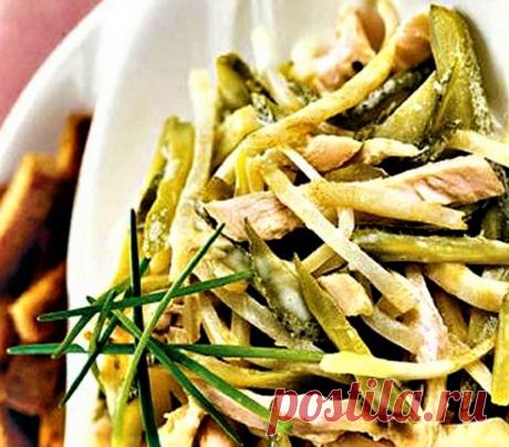 Как приготовить пошагово фото рецепт - Салат с курицей и маринованными огурцами