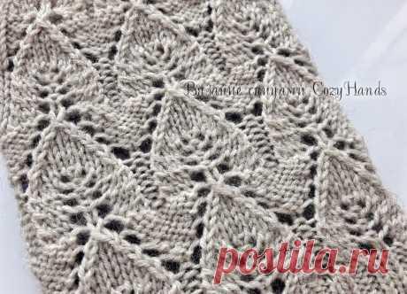 Ажурный узор Листья (Домики) - схема, описание вязания | Вязание спицами CozyHands | Яндекс Дзен