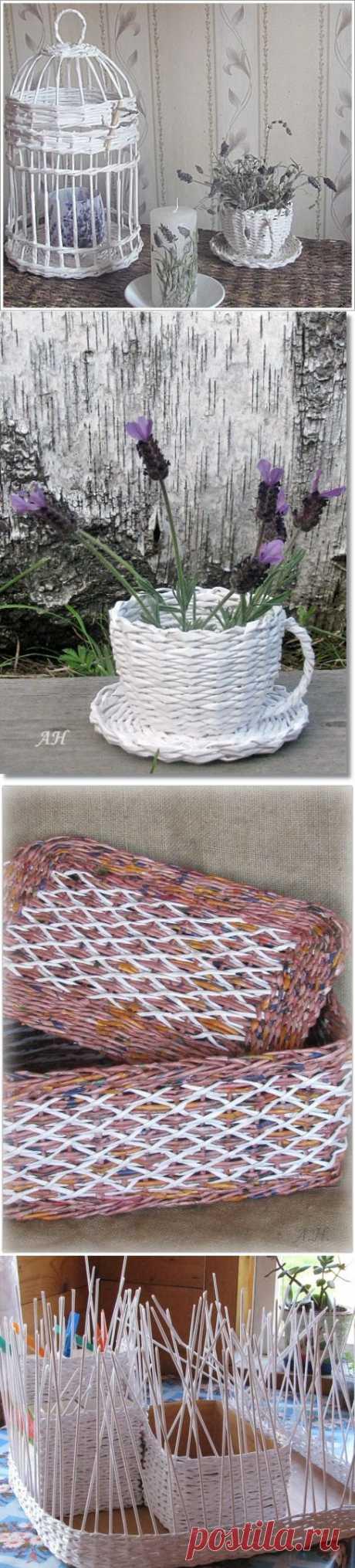 >Плетение из бумаги! Красивые и полезные вещи для дома и сада.