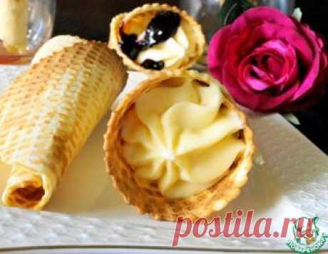 """Вафельные рожки с кремом """"Пломбир"""" – кулинарный рецепт"""