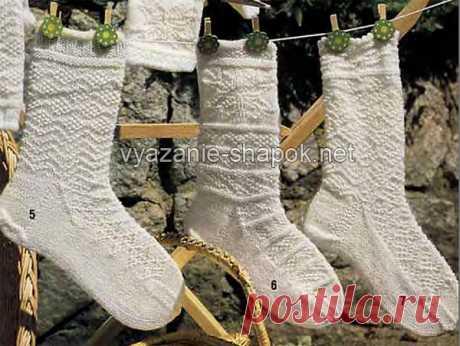 Узоры для вязания носков | ВЯЗАНИЕ ШАПОК: женские шапки спицами и крючком, мужские и детские шапки, вязаные сумки