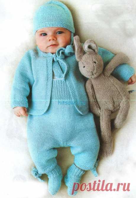 Вязание для малышей голубого комплекта - Хитсовет