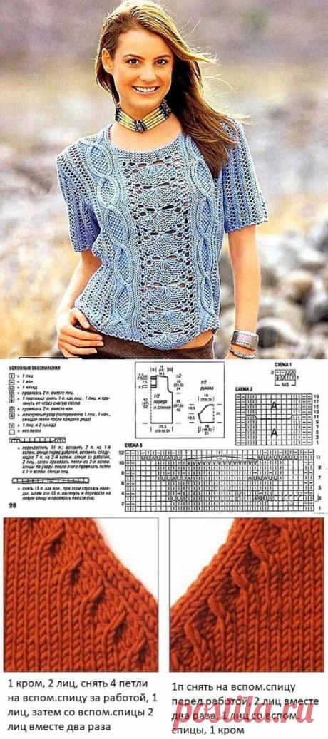 Голубой узорчатый пуловер спицами — Сделай сам, идеи для творчества - DIY Ideas
