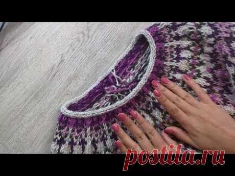Closing of loops with way Ah-a cord in circular knitting