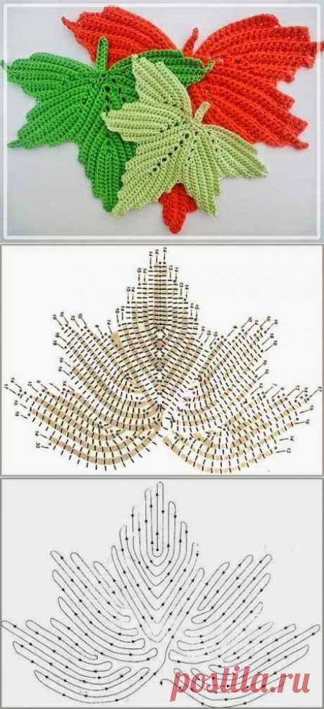 Осенние мотивы: вяжем кленовый лист крючком | Создавай сам | Яндекс Дзен