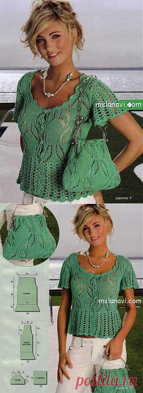 Ажурная блуза и сумочка | Вяжем с Ланой