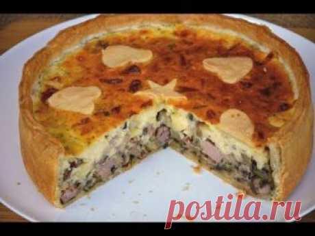El pastel de aspic sobre la masa dulce con las setas por el jamón y el queso - la anotación del usuario MaryanaTastyFood (Maryana) en la comunidad Boltalka en la categoría la Cocina