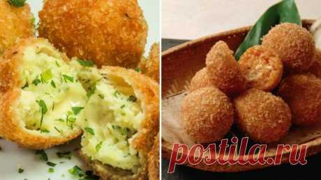 Мясные и картофельные шарики, запеченные с чесноком