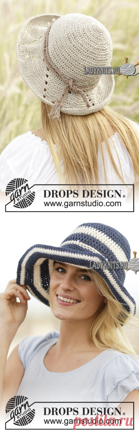 """Knitted a hook a beach Summer Stripes hat (\""""Airstrips\"""") from Drops"""