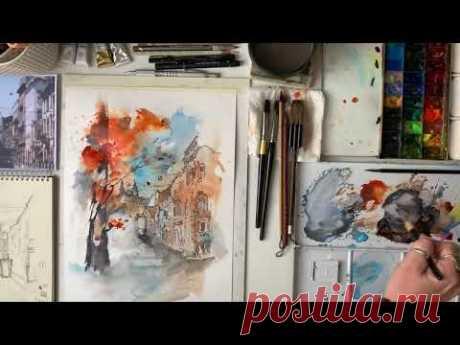 Скетч улицы в смешанной технике - Акварель, акварельные карандаши Watercolor Sketch