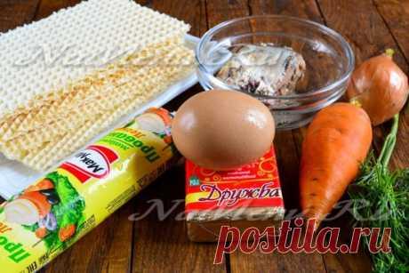 Закусочный торт из вафельных коржей, рецепт