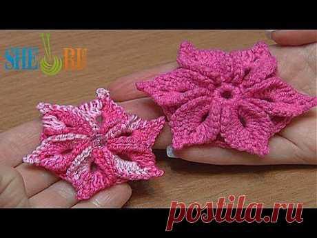 Вязаный цветок Урок 46 Цветок с лепестками украшенными пико - YouTube