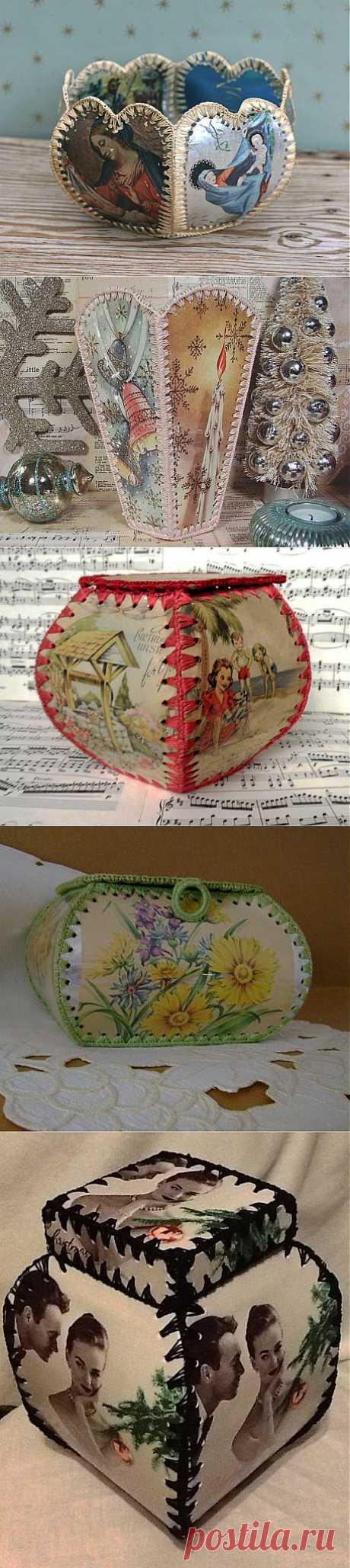 Подборка шкатулок и вазочек из открыток | Варварушка-Рукодельница