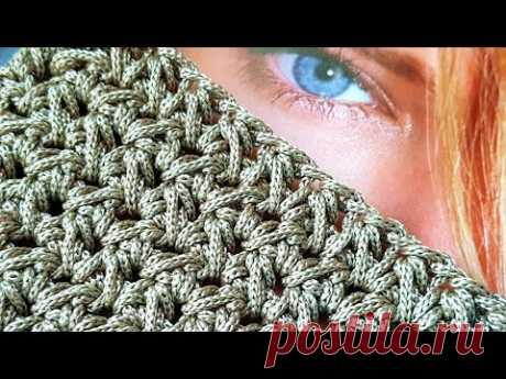 Рельефный узор крючком из шнурка для вязания сумок ❤ crochet pattern.