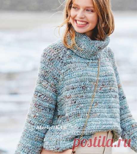 Вязание спицами - Пуловер поперечной резинкой