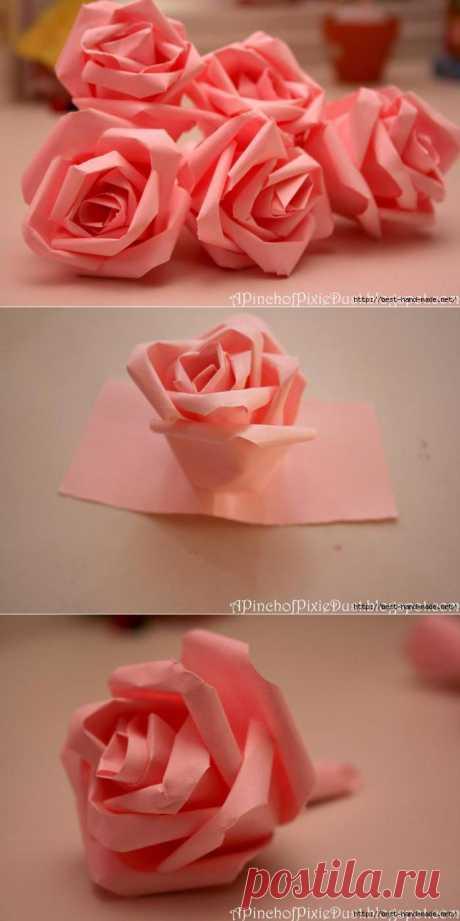 Роза из бумаги - необычный способ создания. Фото и видео мастер-классы.