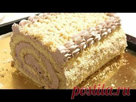 МАСЛЯНЫЙ ЗАВАРНОЙ КРЕМ  Бисквитно - кремовый рулет/Biscuit - cream roll.
