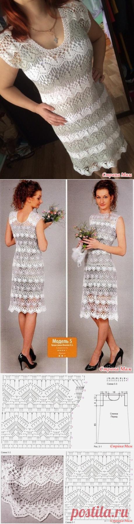 бело-серое платье - Вязание - Страна Мам
