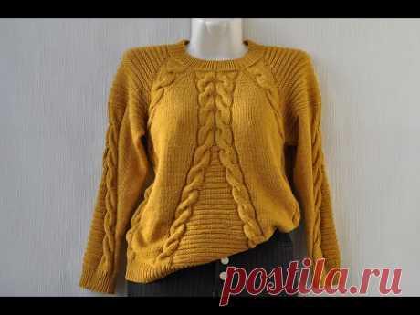 Красивый свитер с косами.МК.Часть 1.Вязание спицами.