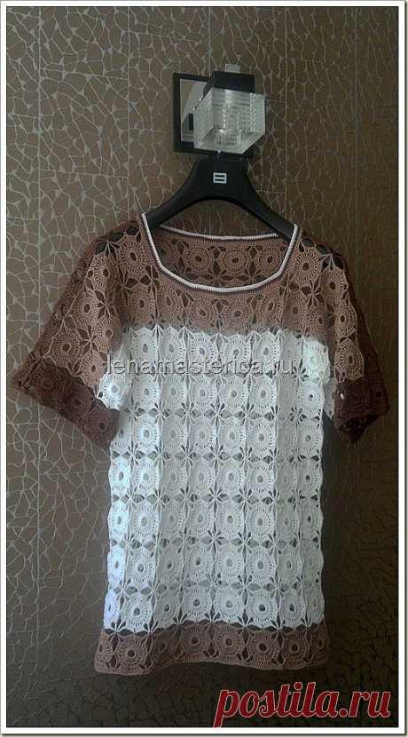 Кружевная блуза, вязаная крючком из мотивов. Схема