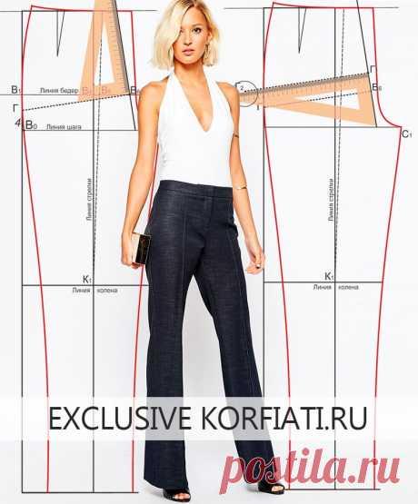 Пошаговое построение выкройки женских брюк Корфиати Простое пошаговое построение выкройки женских брюк с подробными инструкциями. Идеальная брюк посадка по фигуре. По базовой выкройке вы сможете моделировать