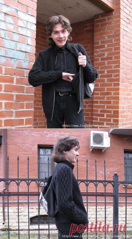 """La labor de punto sobre los rayos - Tejemos a los hombres - la Cazadora en el relámpago con el bolsillo escondido con las cintas """"кельтские мотивы"""" sobre las mangas"""
