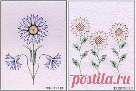Схемы для вышивки весенних цветов в технике изонить