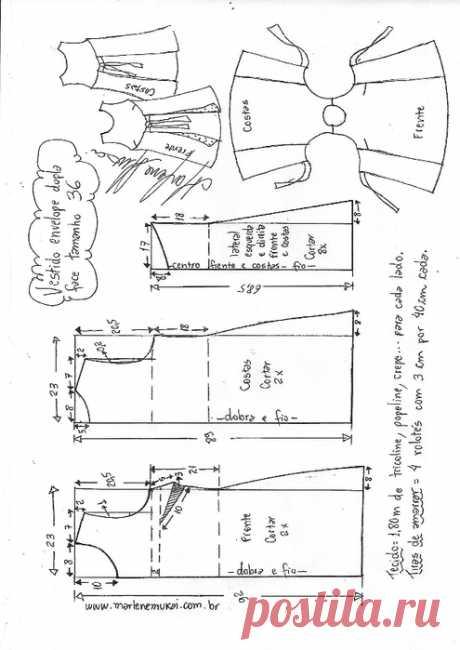 Платье двухстороннее. Выкройки. Размеры от 36 до 56.