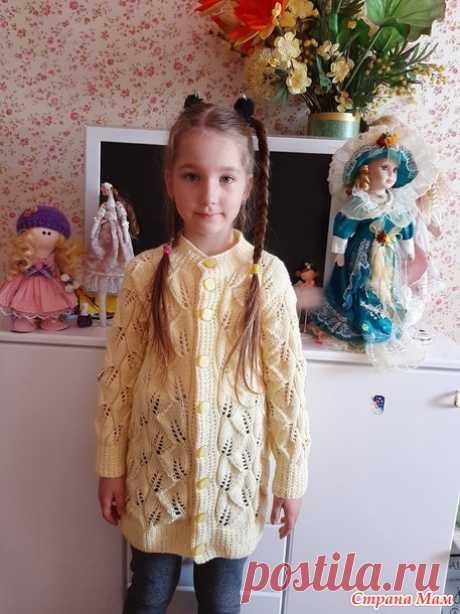 Кардиган спицами для девочки узором листики - Вязание - Страна Мам