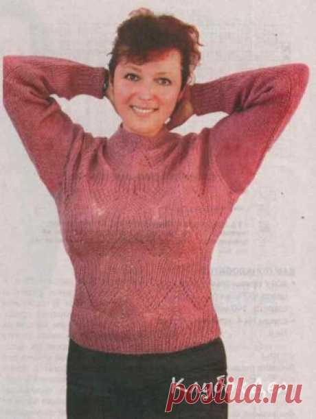 Вязаный спицами пуловер из ангоры. Пуловер женский схема