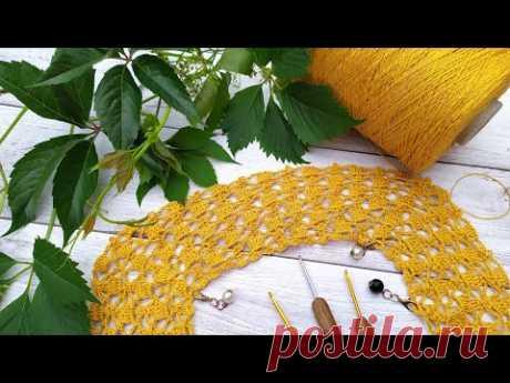 Платье крючком из желтого льна. Часть 3. Подрезы.