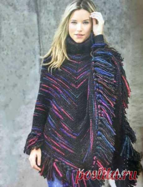 Меланжевое пончо спицами. Описание вязания для женщин
