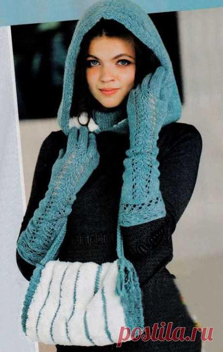 МК по вязанию спицами ажурных женских перчаток с подробным описанием и схемой