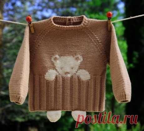 Красивый узор для детского свитера #вязание_спицами@rukodeliamir