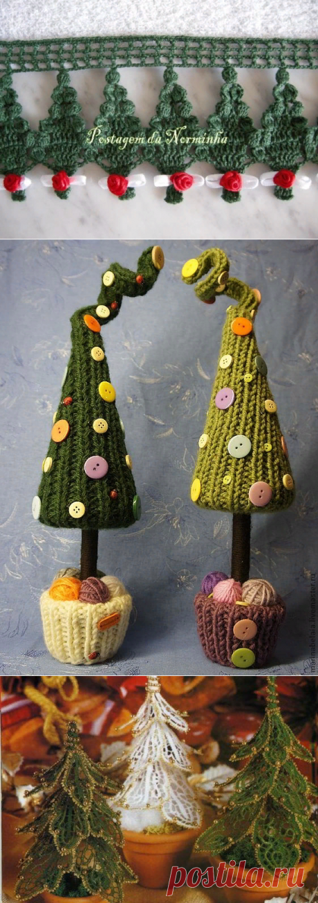 Волшебные елочки-зеленые иголочки, связанные крючком — Делаем руками