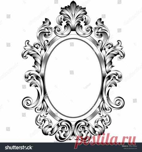 Стоковая векторная графика «Oval Frame Oval Frame Vector Oval Border» (без лицензионных платежей), 1050156002: Shutterstock