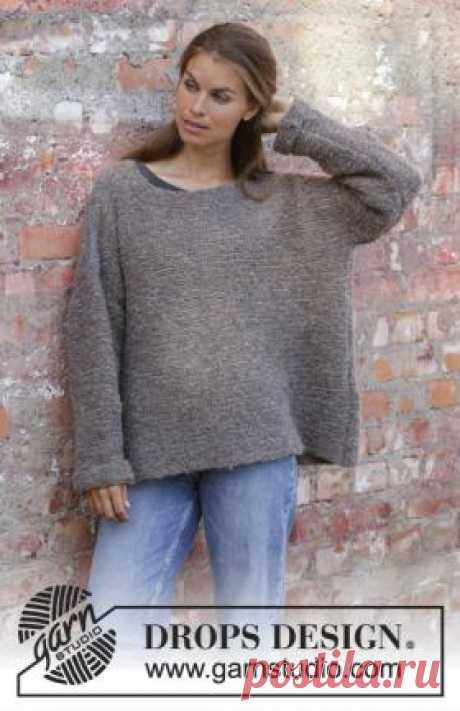 Свитер оверсайз Ивовая тропа Объемный свитер оверсайз для женщин, связанный из пряжи букле платочным узором на спицах 5.5 мм. Детали переда, спинки и рукавов...