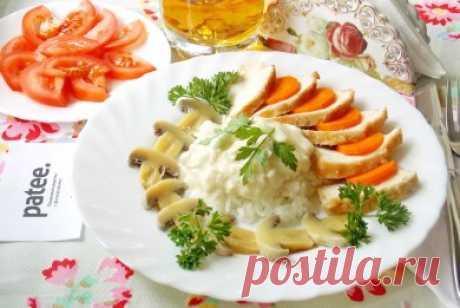 Куриная грудка с рисом и грибами - рецепт с фотографиями