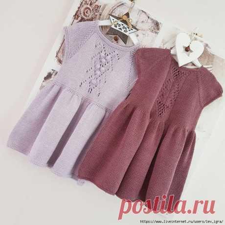 Платьице для девочки вязаное спицами.