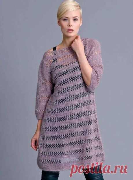 Сиреневое ажурное платье связанное спицами | АЖУР - схемы узоров