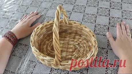 Витая ручка для корзины. Плетение из газетных трубочек