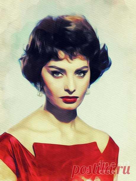 Sophia Loren, Vintage Movie Star by Esoterica Art Agency Sophia Loren, Vintage Movie Star Painting by Esoterica Art Agency