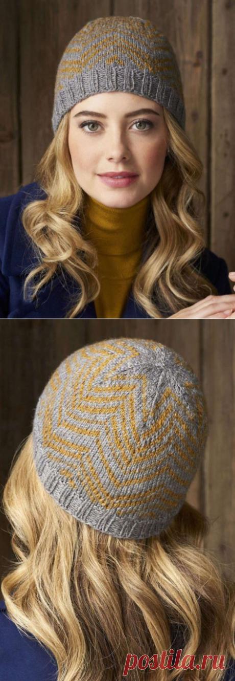 Шапка с орнаментом спицами. Схема вязания шапки