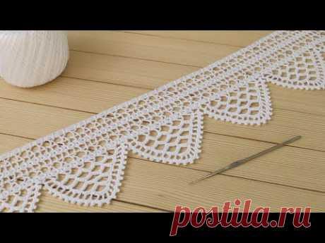 Нежная ажурная КАЙМА вязание крючком ЛЕНТОЧНОГО КРУЖЕВА мастер-класс Crochet lace ribbon