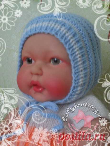 Двусторонний чепчик для новорожденного связанный на спицах